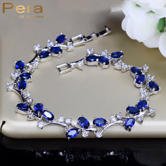 Natural Royal Color Jewelry Sterling Silver Dark Blue Cubic Zirconia Bracelets Bangle Party Gift