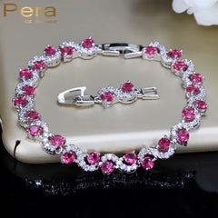 Sterling Silver 925 Link Chain CZ Bracelets Red Cubic Zirconia Crystal S Shape Party Women Jewelry