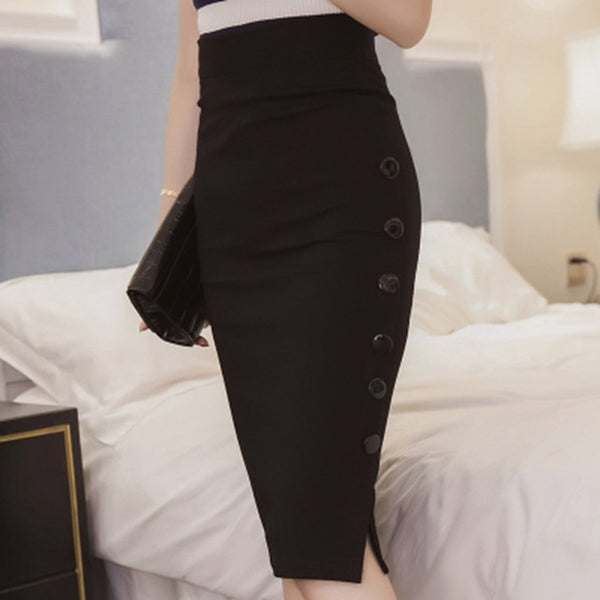 Women Work Midi Skirt Sexy Open Slit Button Slim Pencil Skirt Elegant Office Skirts Red Black