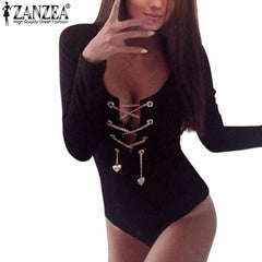 Plus Size ZANZEA Rompers Womens Slim Fit Playsuits Long Sleeve Tops Jumpsuit Bodysuit Short Overalls