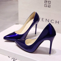 Women Shoes Pointed Toe Pumps Patent Leather High Heels Boat Wedding Blue Wine Red