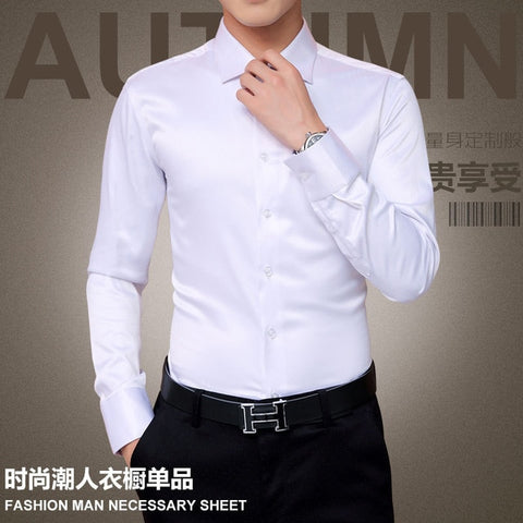 Plus Size Men Luxury Shirts Wedding Long Sleeve Shirt Silk Tuxedo Shirt Men Cotton Shirt