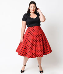 Plus Size Dress Rockabilly Vintage Style Polka Dots Stretch Cotton Fit Flare Swing Dresses