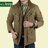 Plus Size Loose Men Jacket Long AFS Jeep Cotton Warm Autumn Mens Business Casual Coats