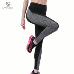 Black/Gray Women's Fitness Leggings Workout Pants High Waist Sporting Leggings Quick-drying Trousers