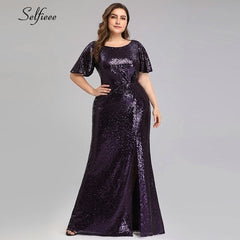Plus Size Dark Purple Mermaid Dresses Short Sleeve O-Neck Split Sequined Bodycon Maxi Dresses
