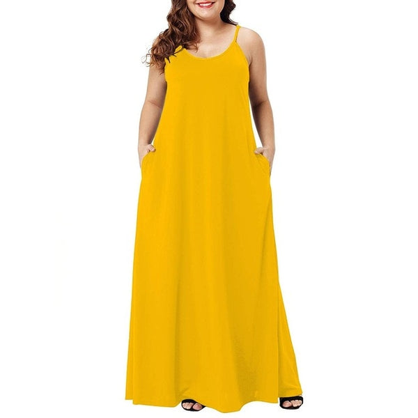 Plus Size Summer Solid Maxi Dresses Spaghetti Straps Sleeveless Loose Long Casual Dress