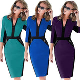 Front Zipper Women Work Wear Stretch Dress Bodycon Pencil Midi Spring Business Casual Dresses