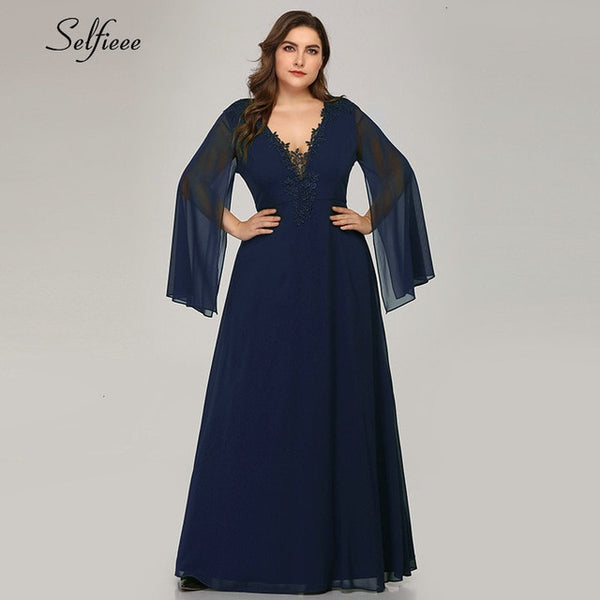 Plus Size Maxi Dresses A-Line V-Neck With Jacket Sleeve Appliques Dress Long Party Dress