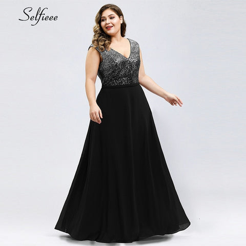 Plus Size Sequin Dress A-Line V-Neck Sleeveless Maxi Elegant Christmas Long Party Gowns
