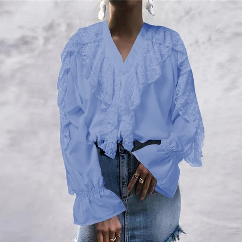 Women Blouse Summer Ruffled Tops V neck Long Sleeve Shirt Casual Buttons