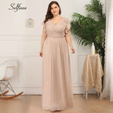 Plus Size Dress A-Line Ruffles Sleeve Double V-Neck Ruched Maxi Chiffon Long Party Dress