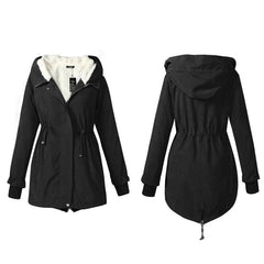 Warm Women Winter Coats Fleece Female Black Long Hooded Parkas