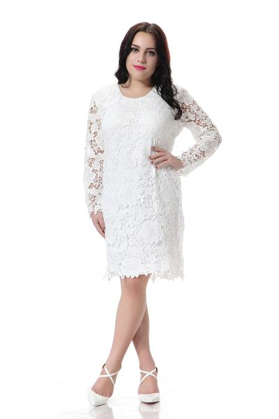 Plus Size Lace Dress Women White Party Dress Hollow Out Design Long Sleeve Casual Pencil Dress