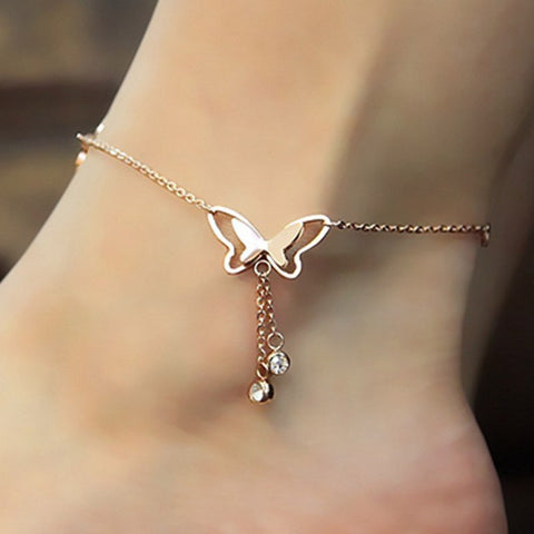 Butterfly Pendant Anklets Foot Chain Summer Leg Bracelet Anklet Rose Gold Silver Jewelry