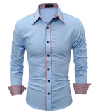QINGYU Male Shirt Long-Sleeves Tops Simple Solid Color Side Mens Slim Shirt
