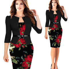 QR Winter Autumn Women Vintage Floral Print Pencil Party Dress