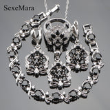 Black Cubic Zirconia 925 Sterling Silver Jewelry Sets Women Earrings/Pendant/Necklace/Rings/Bracelet