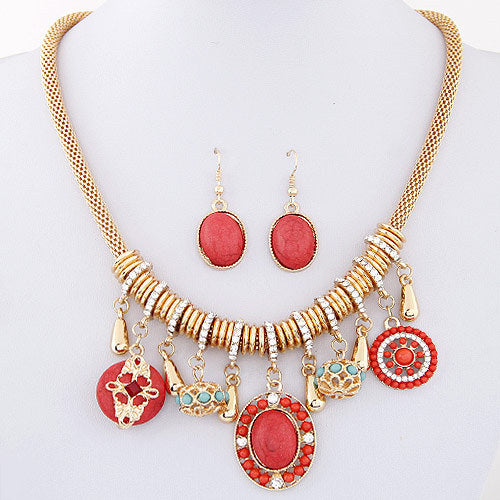 Bohemian Fine Jewelry Sets Red Blue Stone Maxi Necklaces Earrings Statement Collares Wedding