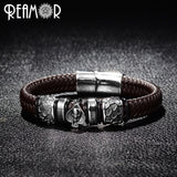 Punk Bangle Stainless Steel Spades Skull Head Charms Trendy Male Bracelet Black Wide Braided Leather Bracelets