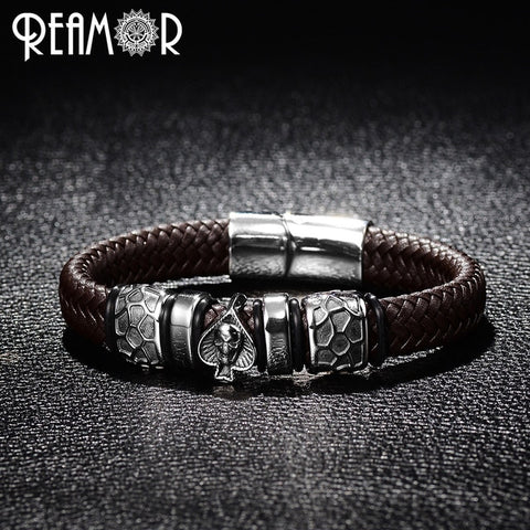 Punk Bangle Stainless Steel Spades Skull Head Charms Trendy Male Bracelet Black Leather Bracelets
