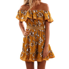 Red Floral Summer Dress Off Shoulder Ruffles Slash Neck Print A-lined Mini Dress
