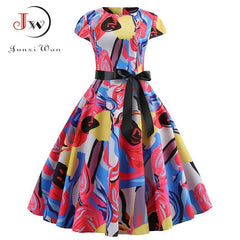 Women Elegant Short Sleeve Floral Print VintageRed Party Dress