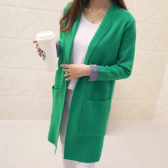 Long Cardigan Autumn Winter Women Long Sleeve Sweater Knitted Jacket Tops