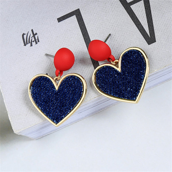 Retro Heart Stud Earrings Contracted Small Student Stud Accessories Earrings