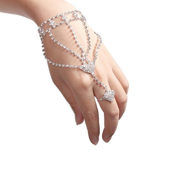 Rhinestone Bangle Slave Chain Link Interweave Finger Rings Hand Harness Bracelets Gold Jewelry