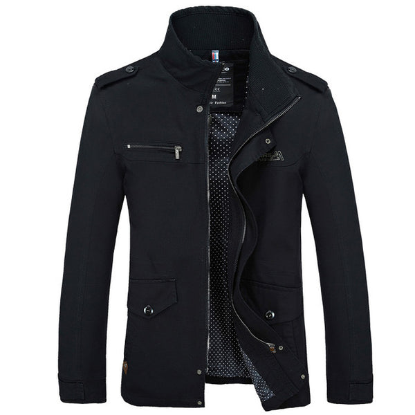 Riinr Male Jacket Slim Fit Mens Clothing Jackets Zipper Warm Cotton-Padded