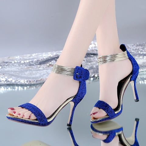 Blue Glitter High Heels Party Shoes Women Metal Ankle Wrap Sandals Pink Silver Summer Wedding Shoes