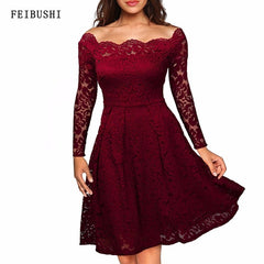 Women Summer Embroidery Lace Off Shoulder Dresses Long Sleeve Casual Evening Party A Line Dress