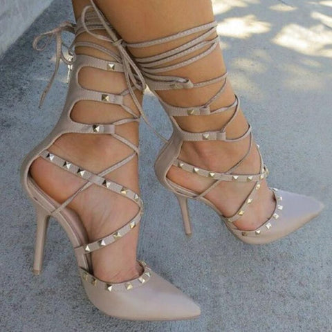 Roman Sandals Women Pumps European Booties Hollow Cross Lace Up Rivets Stiletto High Heels Shoes