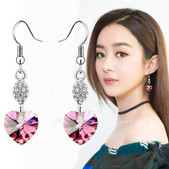925 Sterling Silver Heart Crystal Earrings Shiny Rhinestone Long Drop Earrings Wedding Jewelry