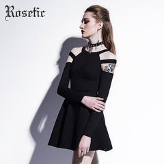 Gothic Mini Dress Black Hollow Fall Women Casual Dress Empire A-Line Young Short O-Neck Dress