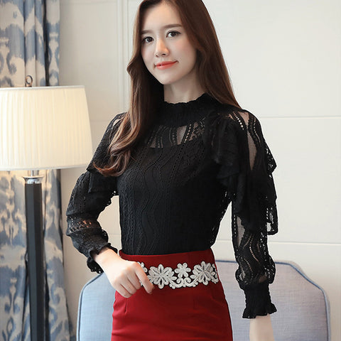 Ruffle Lace Blouse Shirt Women Hollow Out Floral Blouse Tops Chiffon Long Sleeve
