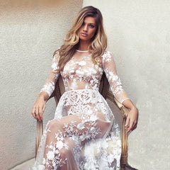 Ruoru Sexy See Through Lace Mesh Embroidered Fashion Evening Party Dress