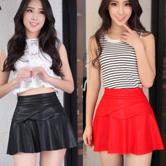 European Style Quality PU Skirt High Waist Leather Mini Short Black Red Short Skirts