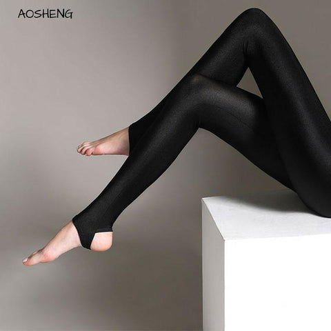 Women Shiny Black Legging Autumn Push Up Slim Leggings High Waist Stretchy Soft Large Size