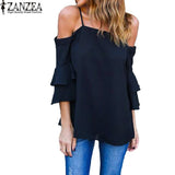 ZANZEA Women 3/4 Bell Flare Sleeve Ruffles Strap Chiffon Blouses Loose Summer Off Shoulder Tops Shirt