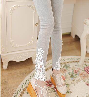 Plus size Leggings Women Leggings Lace Decoration White Leggings Size Custom Made