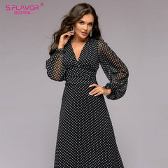 Bohemian Retro Dot Printed Women Party Dress