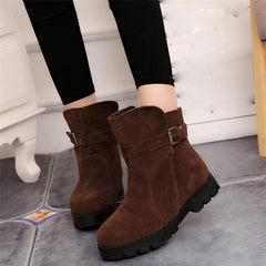 Warm Snow Ankle Boots Buckle Match Solid Martin Boots Shoes Winter Boots