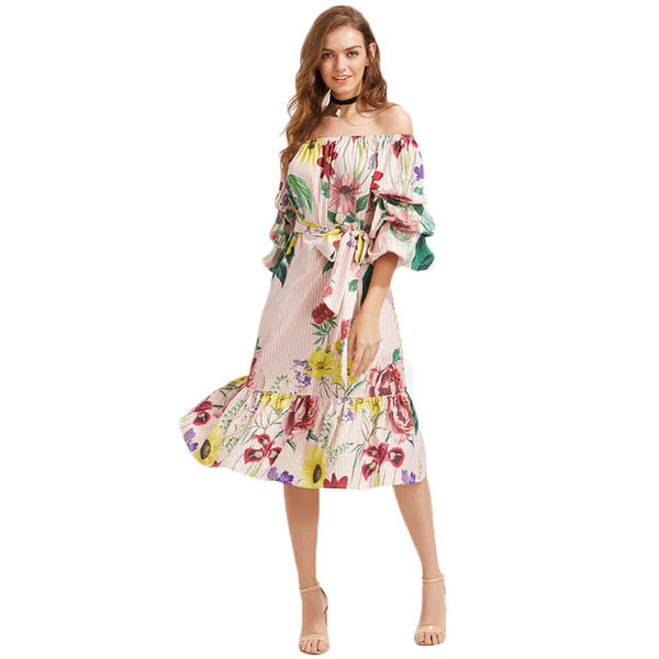 SHEIN Bardot Tiered Lantern Sleeve Flounce Self Tie Dress Off Shoulder 3/4 Length Sleeve A Line Dress