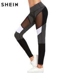 SHEIN Casual Leggings Women Fitness Color Autumn Winter Workout Pants Mesh Insert Leggings