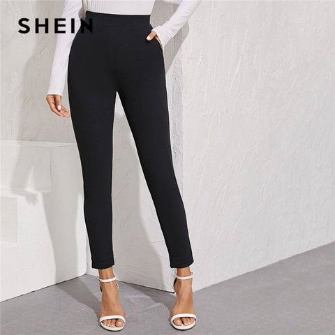 Solid Waist Pocket Side Split Hem Pants Women Bottoms Autumn High Waist Office Skinny Trousers