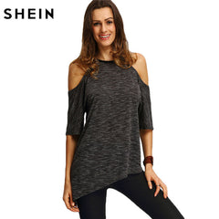 SHEIN Summer Tops Tee Shirts Casual Half Sleeve Cold Shoulder Black Crew Neck Asymmetric T-shirt