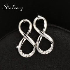 Rhinestone Infinity Earrings Silver Color Women Jewelry Gifts Brincos