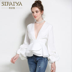 SIPAIYA Sexy Deep V Neck Lantern Sleeve OL Blouse Womens Shirt Tops Summer Blouse
